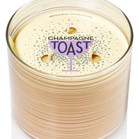 Bath & Body Works Home Champagne Toast Candle 3 Wick 14.5 Oz Winter 2014 Striped Jar