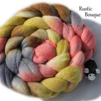 PHAT FIBER - Rustic Bouquet - 19 Micron Merino Roving - 4oz/113g - Spinning/Felting - 100% Wool - Hand Painted
