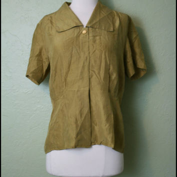 Vintage '80s Olive Green Silk Blouse// L by StoriesForBoys on Etsy