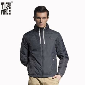 TIGER FORCE 2017 Russian Style Men Fashion Padded Jacket Spring Cotton Jacket Stand Collar Solid Zipper Free Shipping 51062