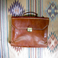 vintage PARLANTI ROMA leather briefcase. leather handbag. shoulder bag. portfolio briefcase