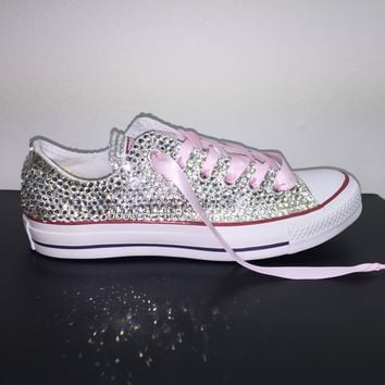 All Star Chuck Taylor Converse Bedazzled In Crystal With Baby Pink Ribbon Laces