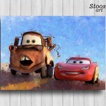 Lightning Mcqueen and Tow Mater poster disney cars print kids watercolor