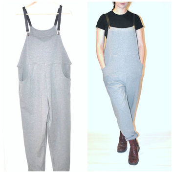 cotton jersey OVERALLS / handmade MINIMALIST womens relaxed fit LEATHER strap overall bibs dungarees os