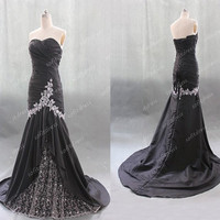 black prom dress, lace prom dresses, elegant prom dresses, affordable prom dress, prom dresses uk, evening dress, BE0450