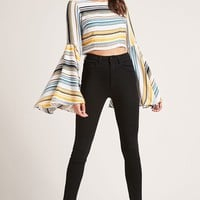 Striped Bell-Sleeve Crop Top
