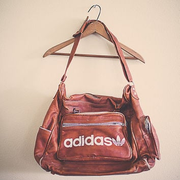 Vintage Adidas Duffle Bag 80's Retro Distressed Vintage Bag  Hipster Gym Bag Brown Tan Gymbag Work Out Gear