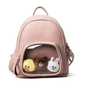 Women backpack High Quality Pu Leather Backpacks Transparent Itabag Lovely Ita bag with three cute doll for free