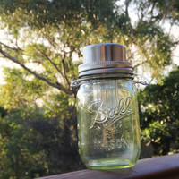 5 Mason jar lanterns with solar lids in selected colors