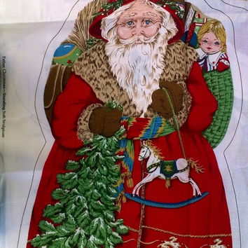 SALE Father Christmas Soft Sculpture Fabric Panel to Sew Makes 3 Stand Up Dolls in 3 Sizes FP0020