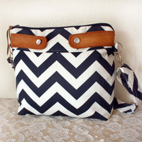 Crossbody Chevron Purse / Nautical look // Navy/White stripe & faux suede-- MADE TO ORDER--