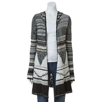 Mudd Tribal Hooded Cardigan - Juniors