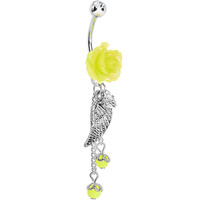 Yellow Neon Rose Angel Wing Dangle Belly Ring | Body Candy Body Jewelry