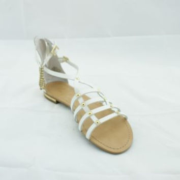 Marc Fisher Ellie White Leather Gladiator Sandals Women's 7 M