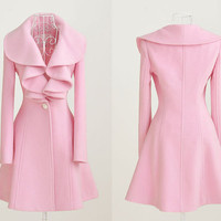 Large Pink Lotus Leaf Collar Fall Winter Hooded Cashmere coat Wool Coat