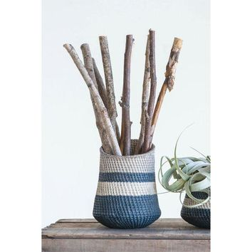 Basket Weave Striped Planter -- 7-in