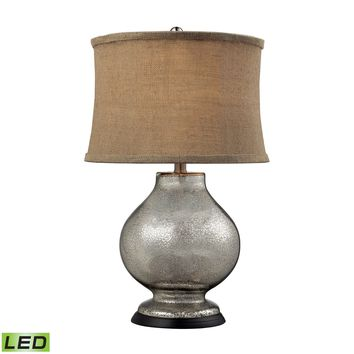 D2239-LED Stonebrook LED Table Lamp In Antique Mercury Glass With Burlap Shade