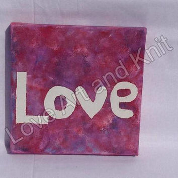 canvas acrylic painting love, size 15x15 cm, valentines gift, teenager, nursery, home, decor, art, teen girl gift,