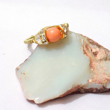 Coral wire wrap ring