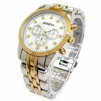 Silver Gold 2 Tone Slim Women's Geneva Designer Style Watch W/ Metal Band