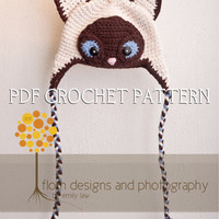 Crochet Pattern for Siamese Cat Hat - Earflap style with braids or Beanie - 5 sizes, baby to adult - Welcome to sell finished items