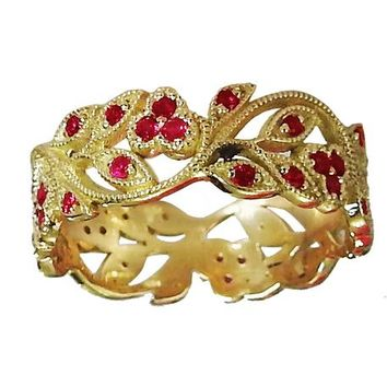 18K Yellow gold Leaves Band with Rubies Filigree Ring Milgrain Twig Ring