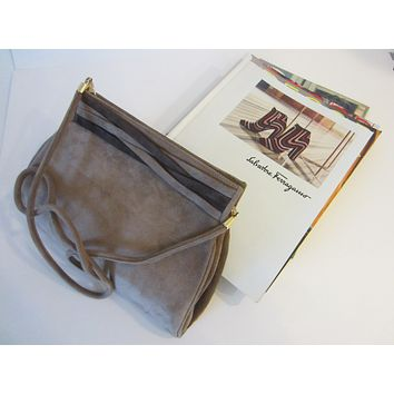 Italian Salvatore Ferragamo Camel Suede Clutch Cross Body Purse