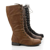 Mitch5 Lace Up Mid Calf Military Combat Boots