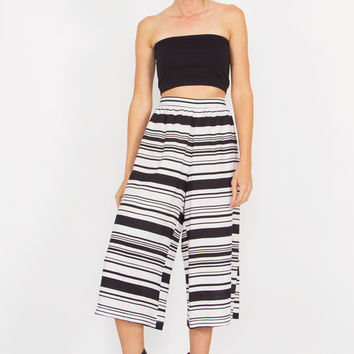 Striped Flare Gaucho Pants.