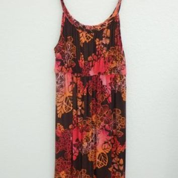 Style & Co Brown. Orange And Pink Spaghetti Straps Summer Short Knee Length Size L Dress 60% off retail
