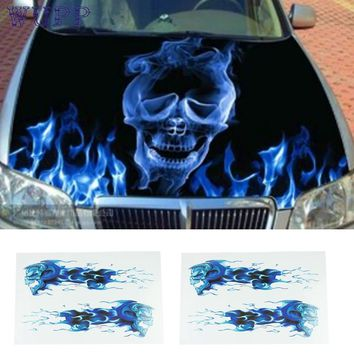 Auto car-styling car styling Automobile motorcycle necessary high quality cheap DIY stickers/blue flames double skull imag feb21