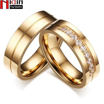 NIDIN 2017 Stainless Steel Trendy Wedding Bands Rings for Love Gold-color CZ Stone Stainless Steel Promise Jewelry