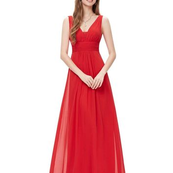 V-Neck Elegant Ruched Waist Padded Long Evening Bridesmaid Maxi Dress