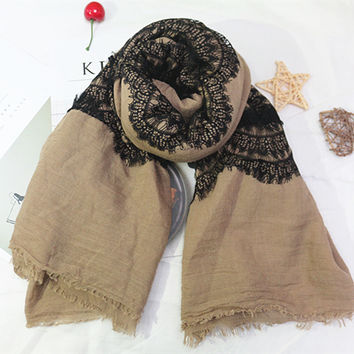 Hot sale Solid Color all sides lace shawls Muslim hijab woman scarf/scarves pashmina bandana silk scarf Free Shipping 10pcs/lot
