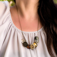 Natural Colors Necklace. Resin Small Hemispheres Hand Painted in White, Brown, Gold, Black, Grey. Gentle Piece of Art. Something Natural.