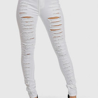 Trendy Jeans-Cute High Waist Jeans-White ripped jeans