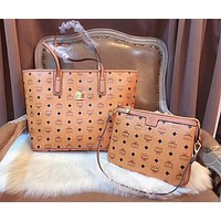 MCM Classic Popular Women Shopping Bag Leather Tote Handbag Shoulder Bag Crossbody Bag Two Piece Set Brown I-AGG-CZDL