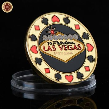 High Quality Gold Plated Coin Poker Card Guard Fashion Style Las Vegas Token Coin Protects The Cards In Your Hand