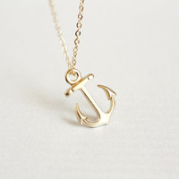 dainty gold anchor necklace