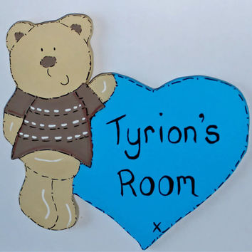 Personalised Boys Wooden Bedroom Door Name Sign Teddy Bear Love Heart