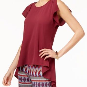 Cable & Gauge Women Split Sleeve Stretch Red Crossover Asymmetric Blouse Top XL