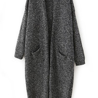 Dark Grey Back Slit Loose Fitting Cardigan