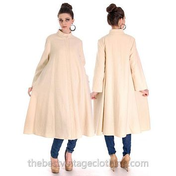 Vintage 1970s  Vuokko Suomi Finland Boiled Wool Cream Tent Coat Snap Front Mod 38 Fits S to L