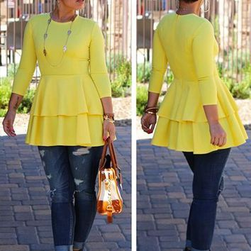 Yellow Cascading Ruffle Long Sleeve Round Neck Peplum High Waisted Fashion T-Shirt