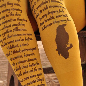 Edgar Allan Poe - Printed Tights -FAIRY LAND size S / M  Mustard