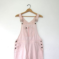 90's light pink linen Bib Overalls. Cropped overall pants.