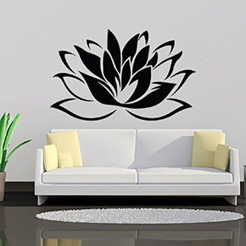Lotus Flower Wall Decal Vinyl Sticker Wall Decor Home Interior Design Bedroom Bathroom Kitchen Art Mural Ah78