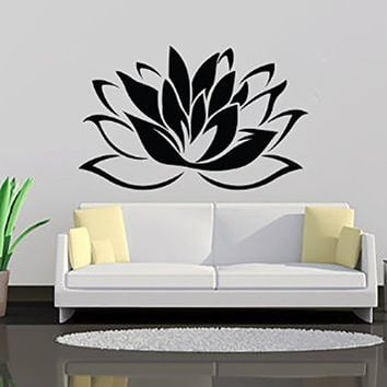 Lotus Flower Wall Decal Vinyl Sticker Wall Decor Home Interior Design  Bedroom Bathroom