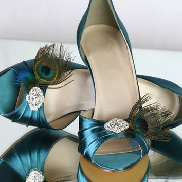 Peacock Teal Shoes 35 HeelChoose Your Own Rhinestone by Parisxox