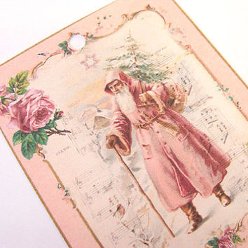 Victorian Christmas ,  Gift Tags ,  Set Of 6 , Pink Santa , Vintage Look , Father Christmas , Roses